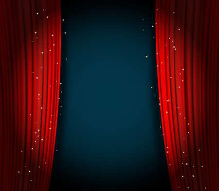 rode gordijnen achtergrond wuth glinsterende sterren. gordijnen open als theater of film presentatie achtergrond of bioscoop award aankondiging met ruimte voor tekst. vector sjabloon voor uw ontwerp
