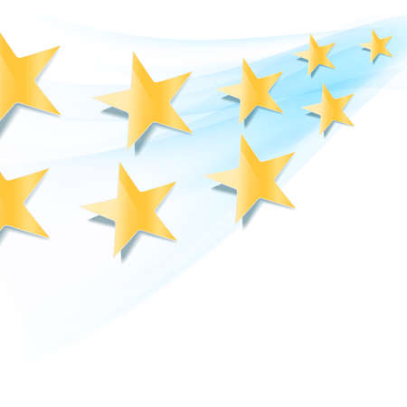 gold colour: yellow stars flowing over blue wavy folding background.