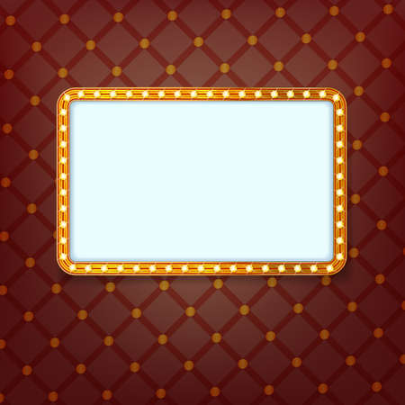 frame vector: shining light banner. retro golden frame with neon lights. cinema billboard with space for text on background with royal pattern. vector template for Your design