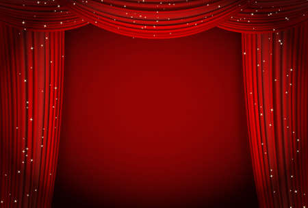 performance art: red curtains on red background with glittering stars. open curtains as theater or movie presentation or cinema award announcement with space for text. vector template for Your design Illustration