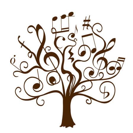 音符と記号は葉と花として巻き毛の小枝で描かれた木を手します。音楽教育をテーマに抽象的な概念図です。音楽的知識のベクター装飾ツリー