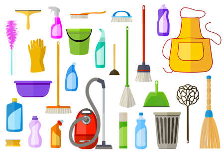 large set of cleaning supplies. flat illustration. vector tools of housecleaning