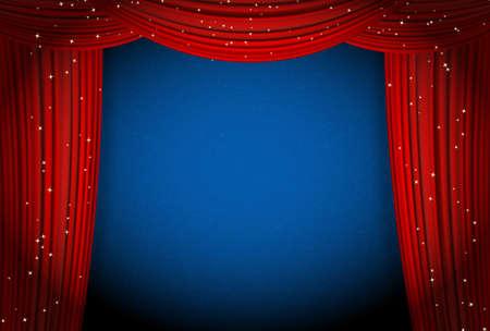 telon de teatro: cortinas rojas sobre fondo azul con estrellas brillantes. cortinas abiertas como el teatro o la presentaci�n de la pel�cula o el anuncio de adjudicaci�n de cine con espacio para texto. la plantilla de vectores para su dise�o Vectores