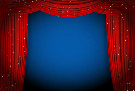 at the theater: red curtains on blue background with glittering stars. open curtains as theater or movie presentation or cinema award announcement with space for text. vector template for Your design