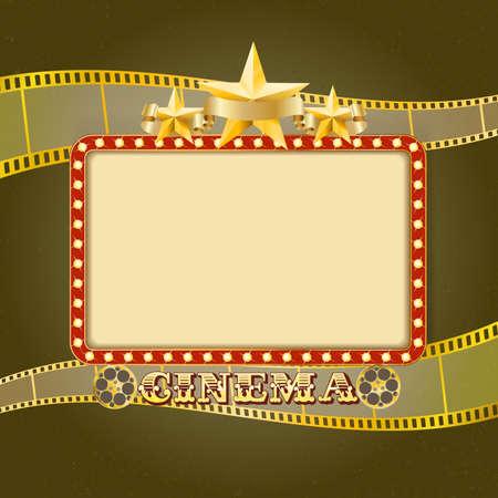 filmstrip: Shining light cinema banner. Retro cinema frame with lights, stars, ribbon, reels, filmstrip. Vector template for Your design Illustration