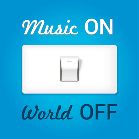 switch off: On off switch. Conceptual image with swtitch on music and world off. Vector Illustration