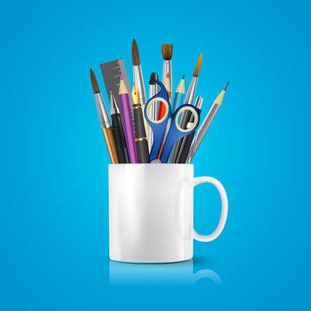 many coloured: White realistic cup with office supplies, pencils, pens, scissors, ruler, paint brushes. Vector conceptual image of office life and objects.