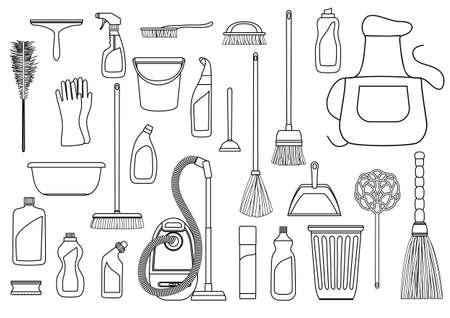 Set Reinigungsmittel. Werkzeuge von housecleaning. Vector Schwarz-Weiß-Umriss
