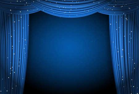 星がきらきら輝く青の背景にブルーのカーテン。テキストのためのスペースを持つ劇場または映画プレゼンテーションや映画賞発表としてカーテン  イラスト・ベクター素材