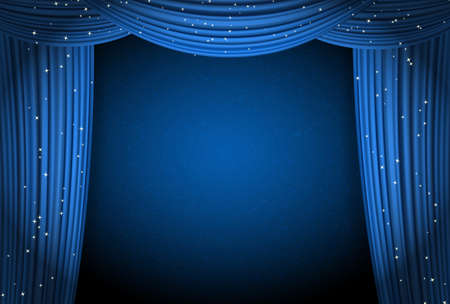 movie theater: blue curtains on blue background with glittering stars. open curtains as theater or movie presentation or cinema award announcement with space for text