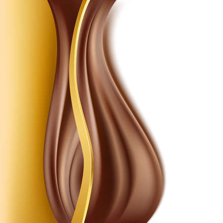 creamy: chocolate with gold border background. creamy abstract backgorund. vector Illustration