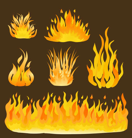 flame: Fire and flames set illustration. Design elements of fire on brown. vector