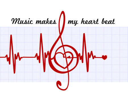 Heart in a musical clef with cardiogram.Music makes my heart beat quote. Vector abstract art sign
