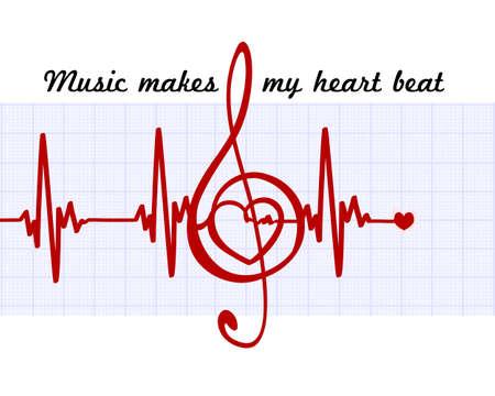 Herz in einem musikalischen Schlüssel mit cardiogram.Music lässt mein Herz höher schlagen Zitat. Vector abstrakte Kunst Zeichen