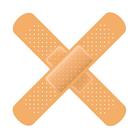 white bandage: Adhesive bandage cross on white. Vector Illustration