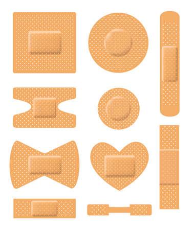 adhesive bandage: Set of medical plasters. Adhesive bandage set on white. vector Illustration