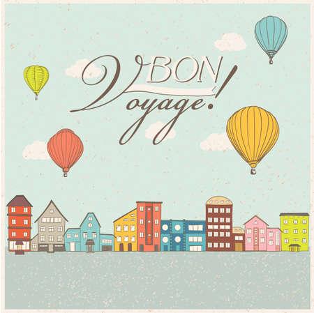 bon: Hot air balloons flying over retro houses. Old town travel theme illustration. Bon Voyage banner. Vector