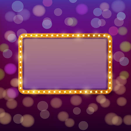 fable: Golden frame with light bulbs on blurry fairy tale background. Vector design template