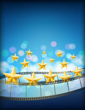 filmstrip: cinema blue background with filmstrips and golden flying stars. vertical abstract vector background