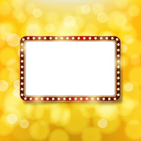 Gouden retro frame met gloeilampen op gouden achtergrond. Reclame- of bioscoopontwerpsjabloon. Vector
