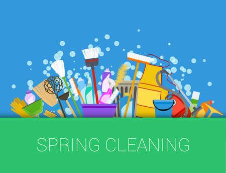orden y limpieza: fondo de la limpieza de primavera. Conjunto de productos de limpieza. Herramientas de limpieza del hogar. Vector