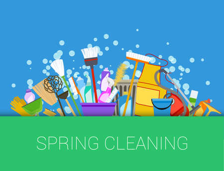 Spring cleaning background. Set of cleaning supplies. Tools of housecleaning. Vector Illustration
