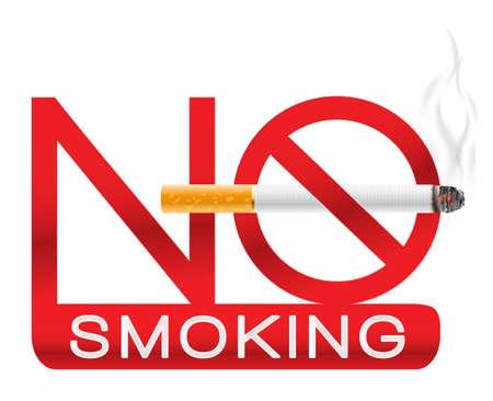 prohibido fumar: Muestra de no fumadores con el cigarrillo y el humo. ilustración vectorial Vectores