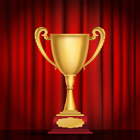 cup: trophy golden cup on red curtain background. vector illustration