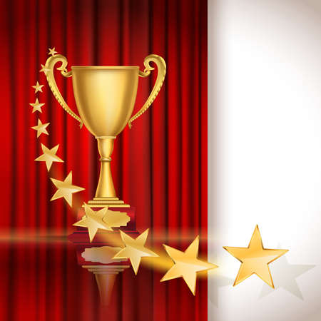 red star: Golden sports cup on red curtain background with stars. vector illustration Illustration