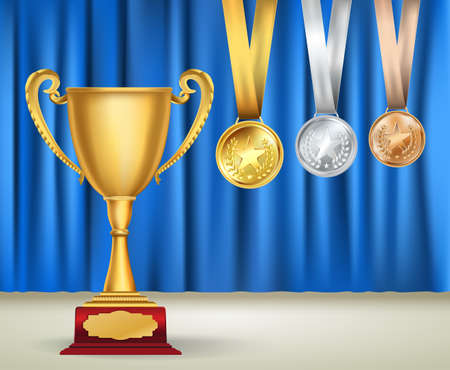 golden ribbons: Golden trophy cup and set of medals with ribbons on blue curtain background. Sports competition awards collection. Vector design template