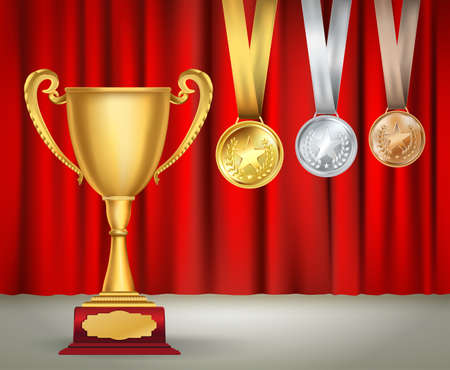 golden ribbons: golden trophy cup and set of medals with ribbons on red curtain background. Sports competition awards collection. Vector design template