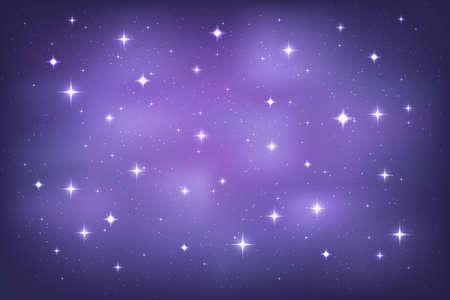 Night sky with glittering stars background. Vector horizontal template Ilustração