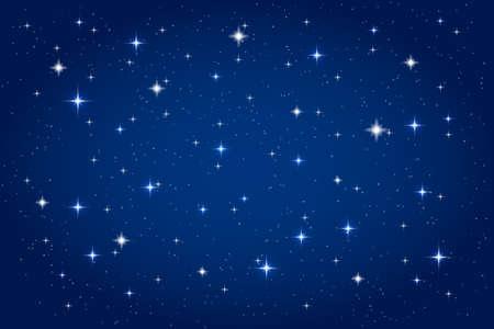 Noční obloha s zářící hvězdy na pozadí. Vektor horizontální šablona Ilustrace