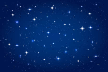 Night sky with shining stars background. Vector horizontal template Illustration