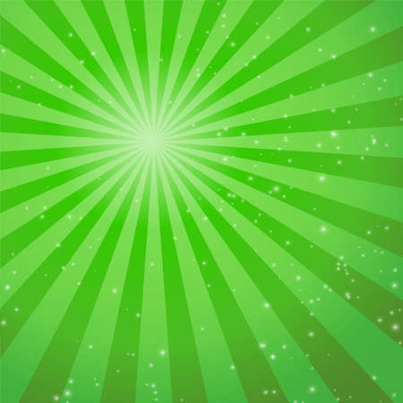 sun beam: Green abstract background with rays. Vector