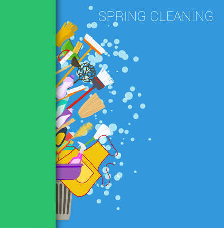Spring cleaning vertical border background. Set of cleaning supplies. Tools of housecleaning. Vector