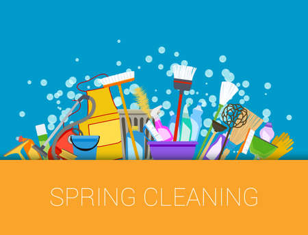 spring: fondo de la limpieza de primavera. Conjunto de productos de limpieza. Herramientas de composición de limpieza de la casa. Vector