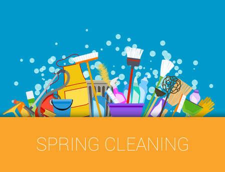 Voorjaarsschoonmaak achtergrond. Set van schoonmaakmiddelen. Tools of schoonmaak compositie. Vector Stock Illustratie