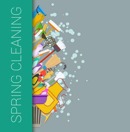 limpieza del hogar: Limpieza de primavera fondo frontera vertical. Limpiando suministros. Herramientas de limpieza del hogar. Vector Vectores