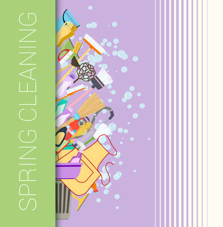 spring cleaning: Spring cleaning vertical border background. Set of cleaning supplies. Tools of housecleaning composition. Vector