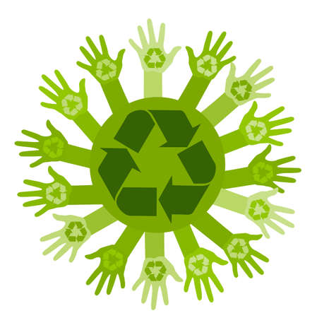 multiracial: Conceptual ecology illustration with hands and recycling sign. vector