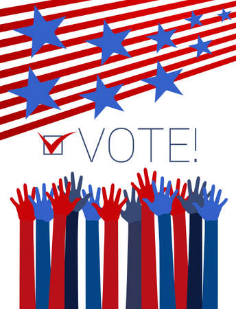 voter: Vote conceptual illustration with raising hands, red stripes and blue stars. Vector Illustration