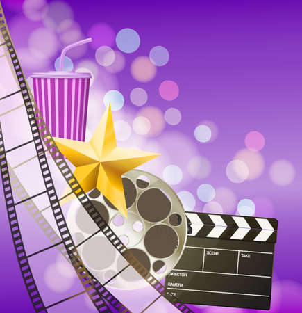 filmstrip: Cinema background with filmstrip, golden star, cup, clapperboard on blurry purple background. vector
