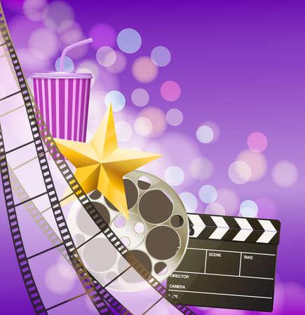 filmstrip: Cinema background with filmstrip, golden star, cup, clapperboard on blurry purple background. vector