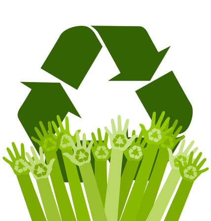 human hands: Human abstract hands with recycling sign. Conceptual ecology vector illustration