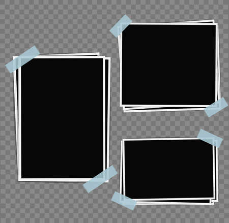 white poster: Photo frames composition with tape on transparent background. Vector design template