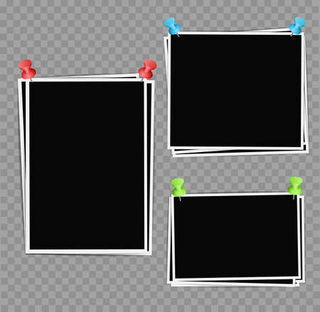 pushpins: Photo frames composition with pushpins on transparent background. Vector design template