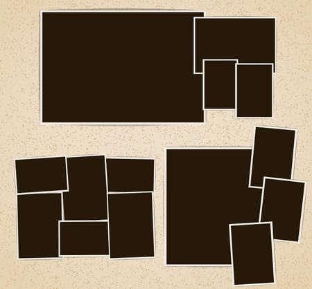 albums: Photo frames in retro album composition set. Vector design template Illustration