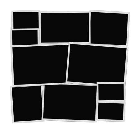 Photo frames album composition on white background. Vector design template
