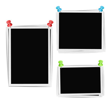 pushpins: Photo frames composition with pushpins on white background. Vector design template
